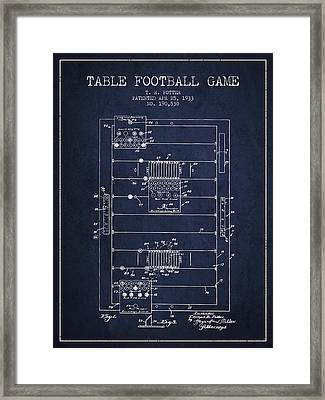 Table Football Game Patent From 1933 - Navy Blue Framed Print by Aged Pixel