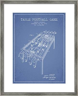 Table Football Game Patent From 1973 - Light Blue Framed Print by Aged Pixel