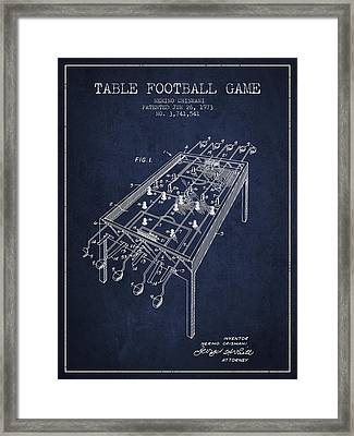 Table Football Game Patent From 1973 - Navy Blue Framed Print by Aged Pixel