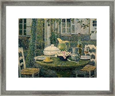 Table Laden For Spring Framed Print by Henry Eugene Le Sidaner