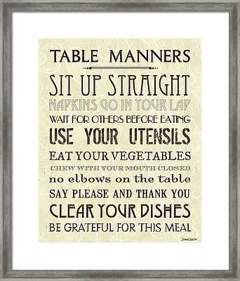 Table Manners 2 Framed Print by Debbie DeWitt