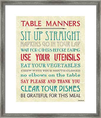Table Manners Framed Print by Debbie DeWitt