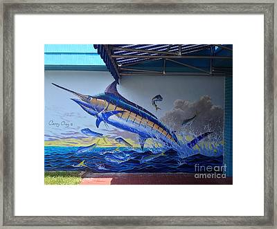 Tackle Store Mural Framed Print by Carey Chen