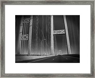 Tacoma Narrows Bridge B W Framed Print by Connie Fox