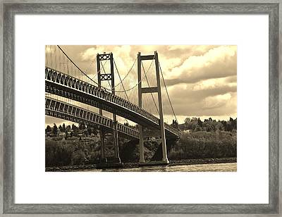 Tacoma Narrows Bridge Framed Print by Dennis and Tracy King