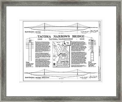 Tacoma Narrows Bridge Habs P1 Framed Print by Photo Researchers