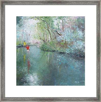 Tad Poling At The Creek Framed Print by Jan Matson
