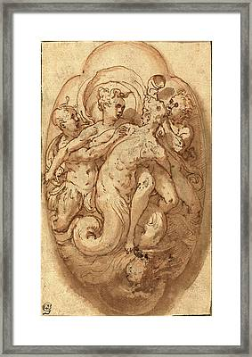 Taddeo Zuccaro, Italian 1529-1566, Mythological Figures Framed Print by Litz Collection