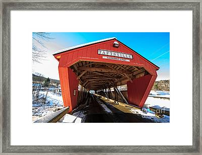 Taftsville Covered Bridge In Vermont In Winter Framed Print by Edward Fielding