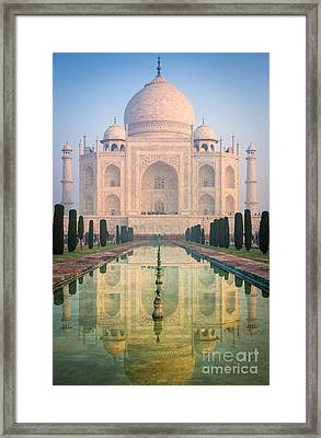 Taj Mahal Dawn Reflection Framed Print by Inge Johnsson