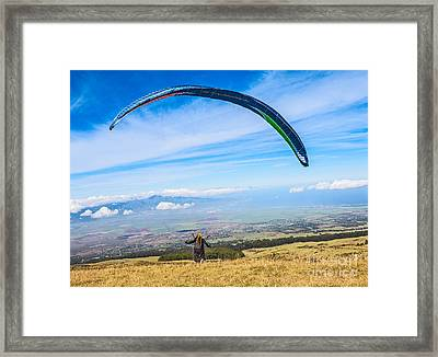 Take Off - Paraglider Taking Off High Over Maui. Framed Print by Jamie Pham