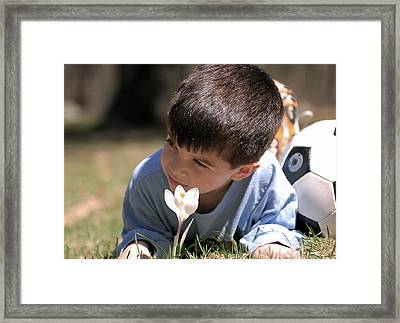 Take Time To Stop And Smell The Flowers Framed Print by John Sarnie