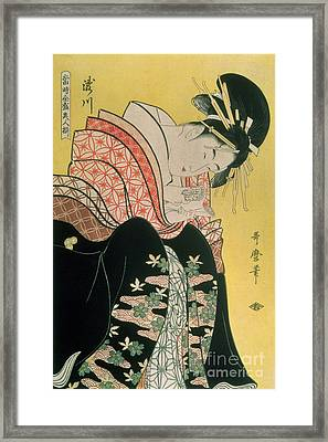 Takigawa From The Tea House Ogi Framed Print by Kitagawa Otamaro
