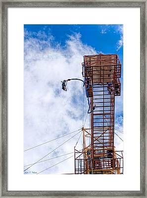 Taking A Leap - Bungee Jump In Costa Rica Framed Print by Mark E Tisdale
