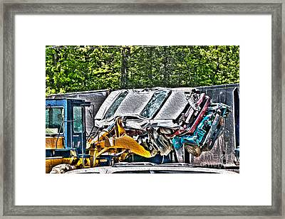 Taking A Ride - Vehicle Recycling Framed Print by Crystal Harman