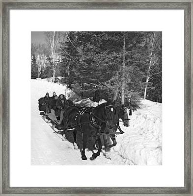 Taking A Sleigh Ride In Canada Framed Print by Underwood Archives