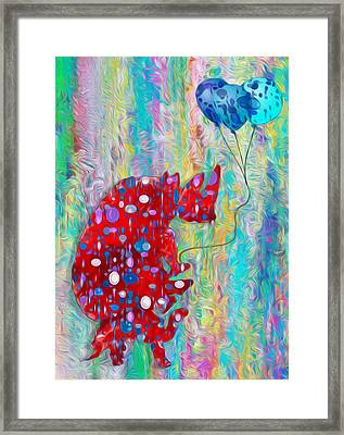 Carrying The Heavy Load - Rhino And Tortoise  Framed Print by Jack Zulli