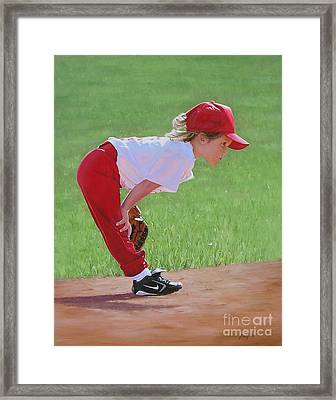 Taking An Infield Position Framed Print by Emily Land