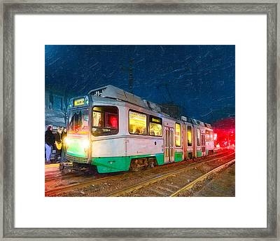 Taking The T At Night In Boston Framed Print by Mark E Tisdale