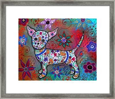 Talavera White Chihuahua Framed Print by Pristine Cartera Turkus