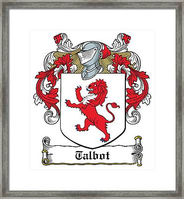 Talbot Coat Of Arms Malahide Ireland Framed Print by Heraldry