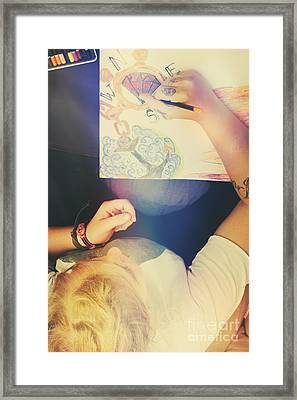 Talented Artist Woman Sketching Out Masterpiece Framed Print by Jorgo Photography - Wall Art Gallery