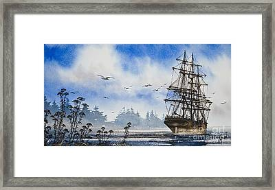 Tall Ship Cove Framed Print by James Williamson