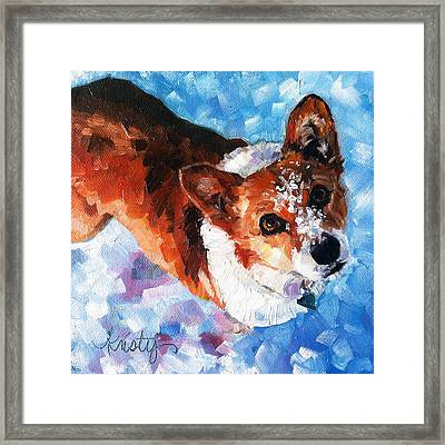 Tally In The Snow Framed Print by Kristy Tracy