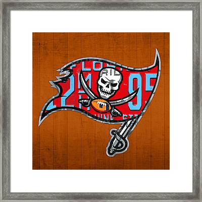 Tampa Bay Buccaneers Football Team Retro Logo Florida License Plate Art Framed Print by Design Turnpike