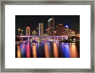 Tampa Lights Framed Print by Frozen in Time Fine Art Photography