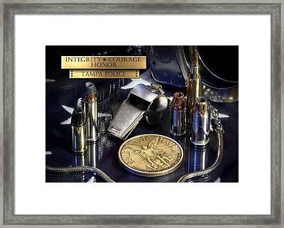 Tampa Police St Michael Framed Print by Gary Yost