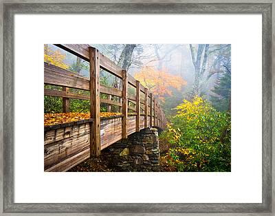 Tanawha Trail Foot Bridge - Rough Ridge Autumn Foliage Nc Framed Print by Dave Allen