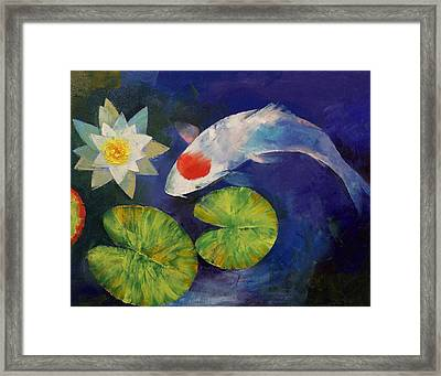 Tancho Koi And Water Lily Framed Print by Michael Creese
