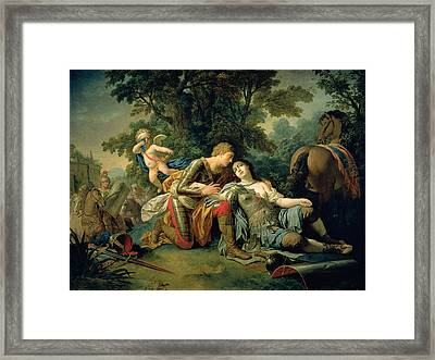 Tancred And Clorinda, 1761 Framed Print by Louis Jean Francois I Lagrenee