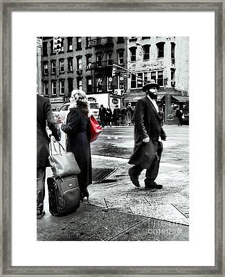 Tangents - A Walk In The City Framed Print by Miriam Danar