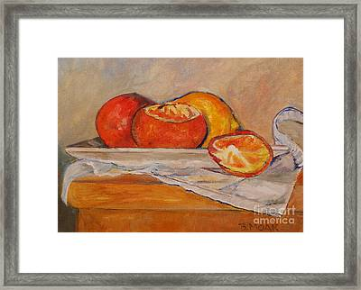 Tangerines With Lemon Framed Print by Barbara Moak
