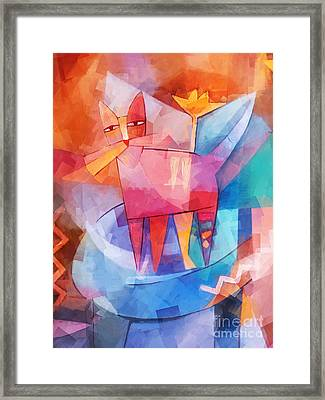 Tango Cat Cubic Framed Print by Lutz Baar
