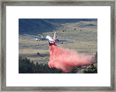 Framed Print featuring the photograph Tanker 45 Dropping On Whoopup Fire by Bill Gabbert