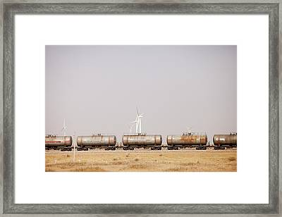 Tanker Cars And Wind Farm Framed Print by Ashley Cooper