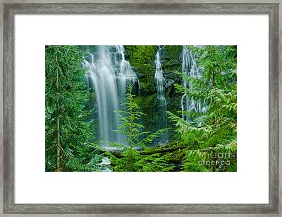 Pacific Northwest Waterfall Framed Print by Nick  Boren
