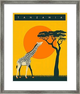 Tanzania Travel Poster Framed Print by Jazzberry Blue