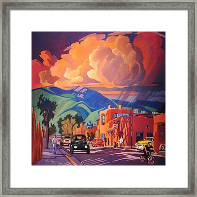 Taos Inn Monsoon Framed Print by Art James West