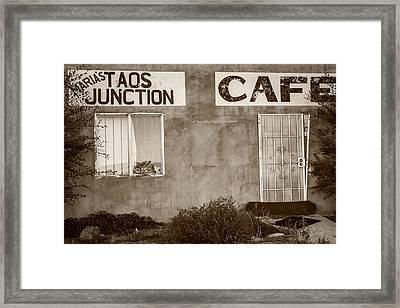 Taos Junction Cafe Framed Print by Steven Bateson