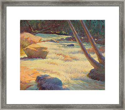 Taos Mountain Rapids Framed Print by Ernest Principato