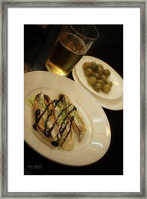 Tapas In Seville Framed Print by Mary Machare