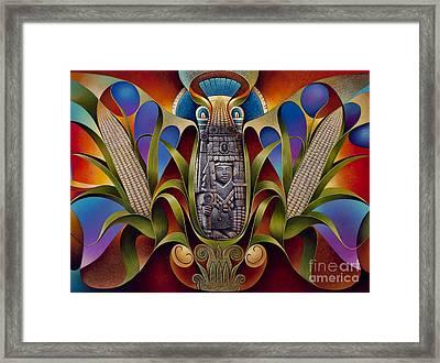 Tapestry Of Gods - Chicomecoatl Framed Print by Ricardo Chavez-Mendez
