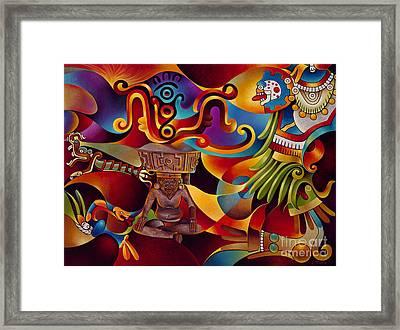 Tapestry Of Gods - Huehueteotl Framed Print by Ricardo Chavez-Mendez