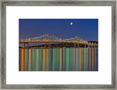 Tappan Zee Bridge Reflections Framed Print by Susan Candelario
