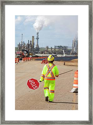 Tar Sands Worker At The Syncrude Mine Framed Print by Ashley Cooper