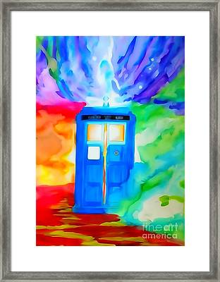 Tardis Watercolor Edition Framed Print by Justin Moore
